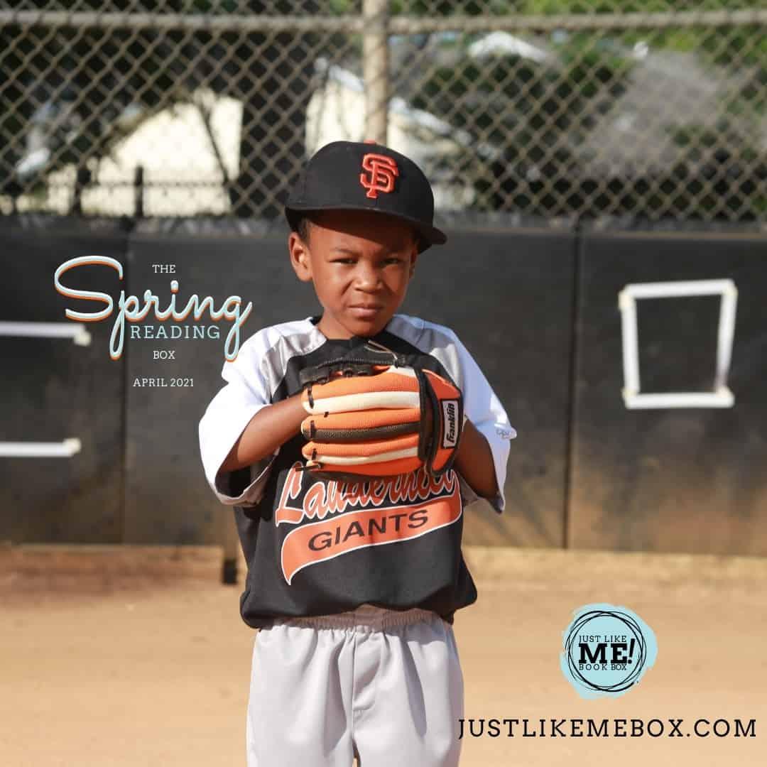 books for Black children. little boy playing baseball