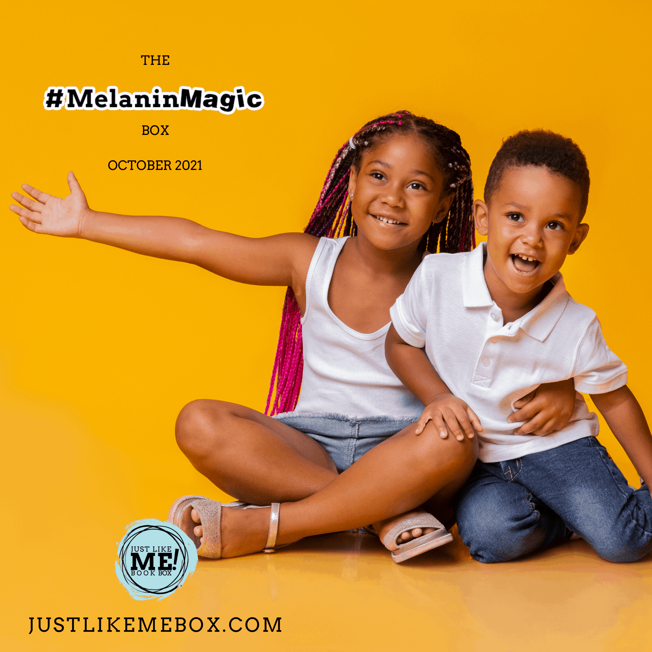 playful siblings on a yellow background the #MelaninMagic box