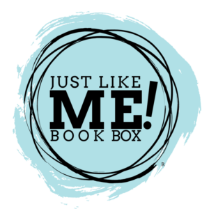 Just Like Me! Book Box® Logo with blue grunge circle background
